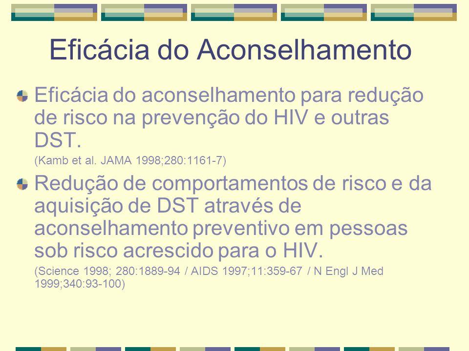 Eficácia do Aconselhamento Eficácia do aconselhamento para redução de risco na prevenção do HIV e outras DST. (Kamb et al. JAMA 1998;280:1161-7) Reduç