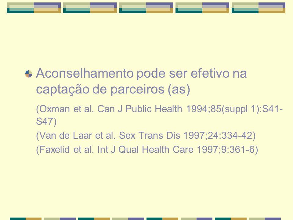 Aconselhamento pode ser efetivo na captação de parceiros (as) (Oxman et al. Can J Public Health 1994;85(suppl 1):S41- S47) (Van de Laar et al. Sex Tra