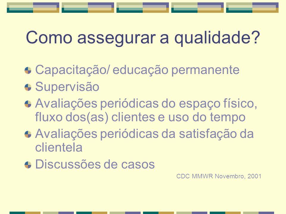 Como assegurar a qualidade? Capacitação/ educação permanente Supervisão Avaliações periódicas do espaço físico, fluxo dos(as) clientes e uso do tempo