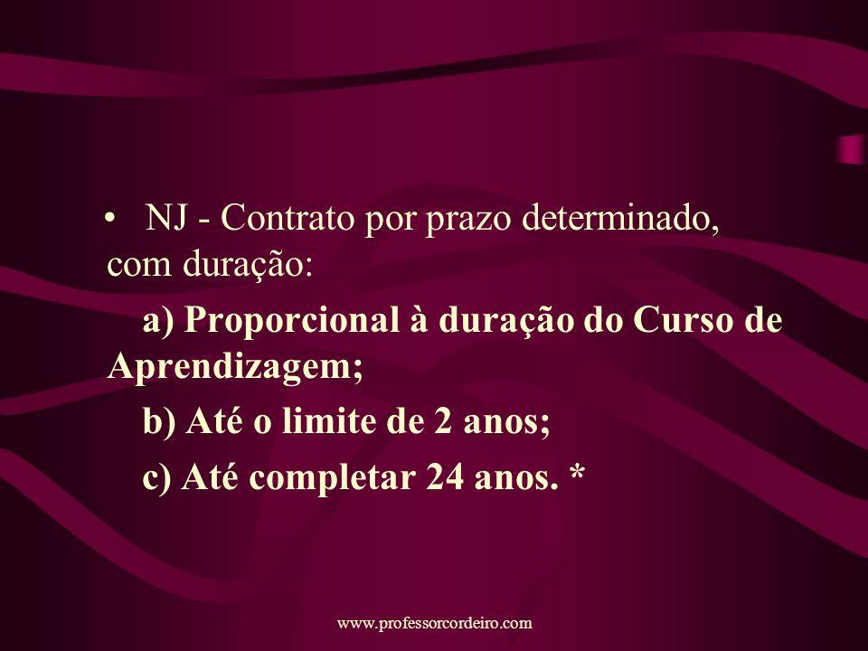 www.professorcordeiro.com NJ - Contrato por prazo determinado, com duração: a) Proporcional à duração do Curso de Aprendizagem; b) Até o limite de 2 anos; c) Até completar 24 anos.