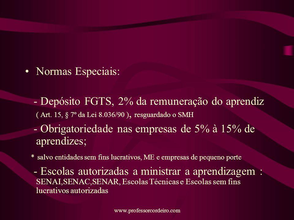 www.professorcordeiro.com Normas Especiais: - Depósito FGTS, 2% da remuneração do aprendiz ( Art.