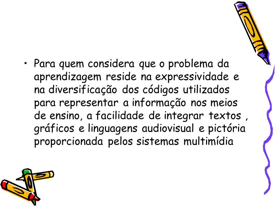 Para quem considera que o problema da aprendizagem reside na expressividade e na diversificação dos códigos utilizados para representar a informação n