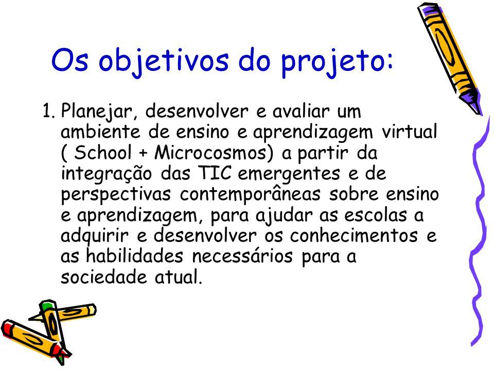 Os objetivos do projeto: 1. Planejar, desenvolver e avaliar um ambiente de ensino e aprendizagem virtual ( School + Microcosmos) a partir da integraçã