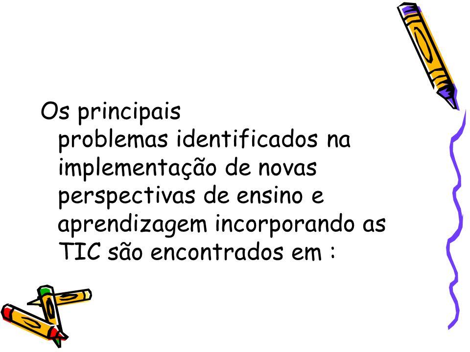 Os principais problemas identificados na implementação de novas perspectivas de ensino e aprendizagem incorporando as TIC são encontrados em :