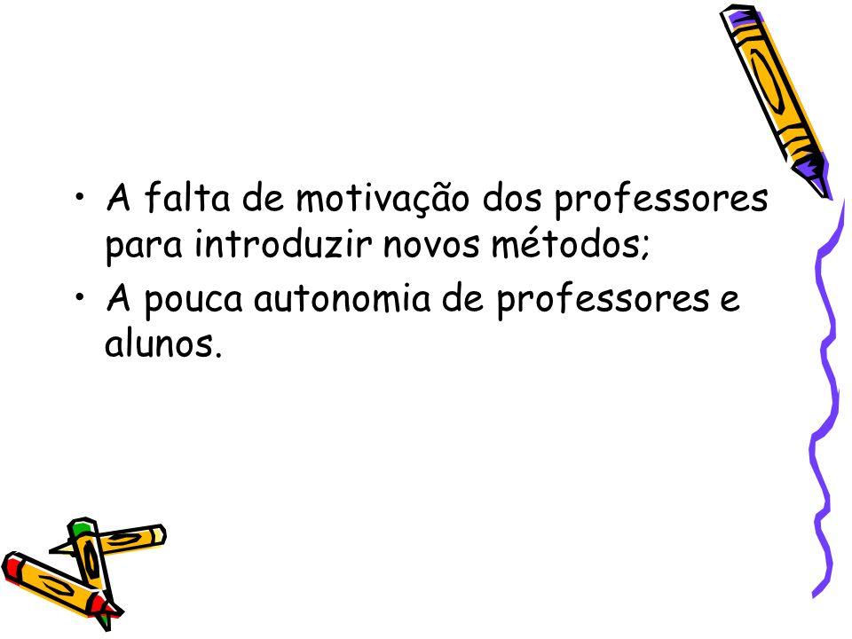 A falta de motivação dos professores para introduzir novos métodos; A pouca autonomia de professores e alunos.