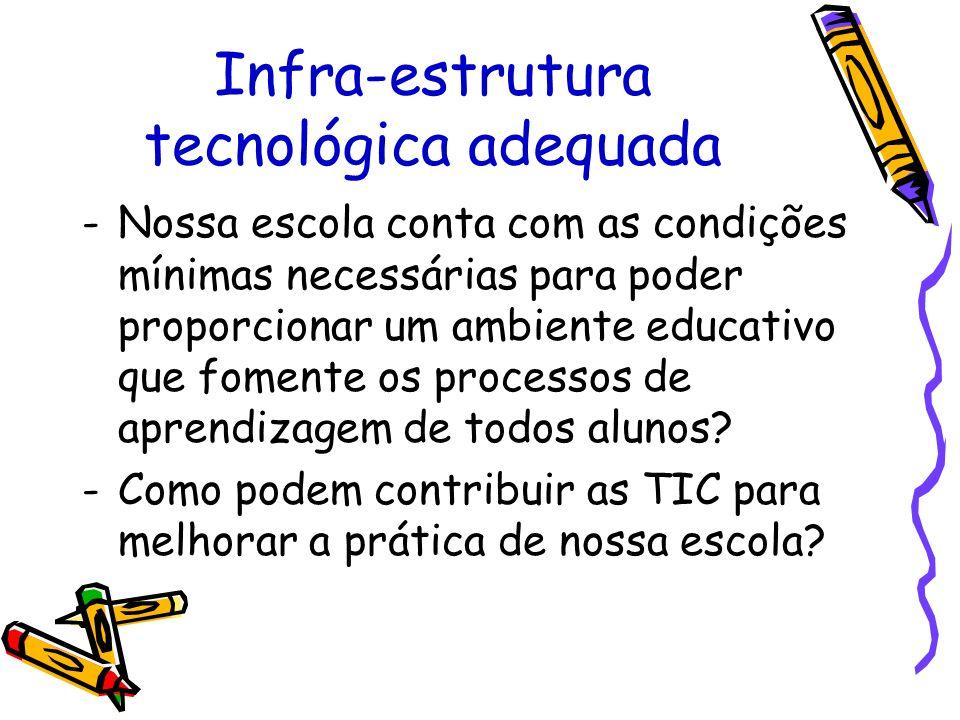 Infra-estrutura tecnológica adequada -Nossa escola conta com as condições mínimas necessárias para poder proporcionar um ambiente educativo que foment