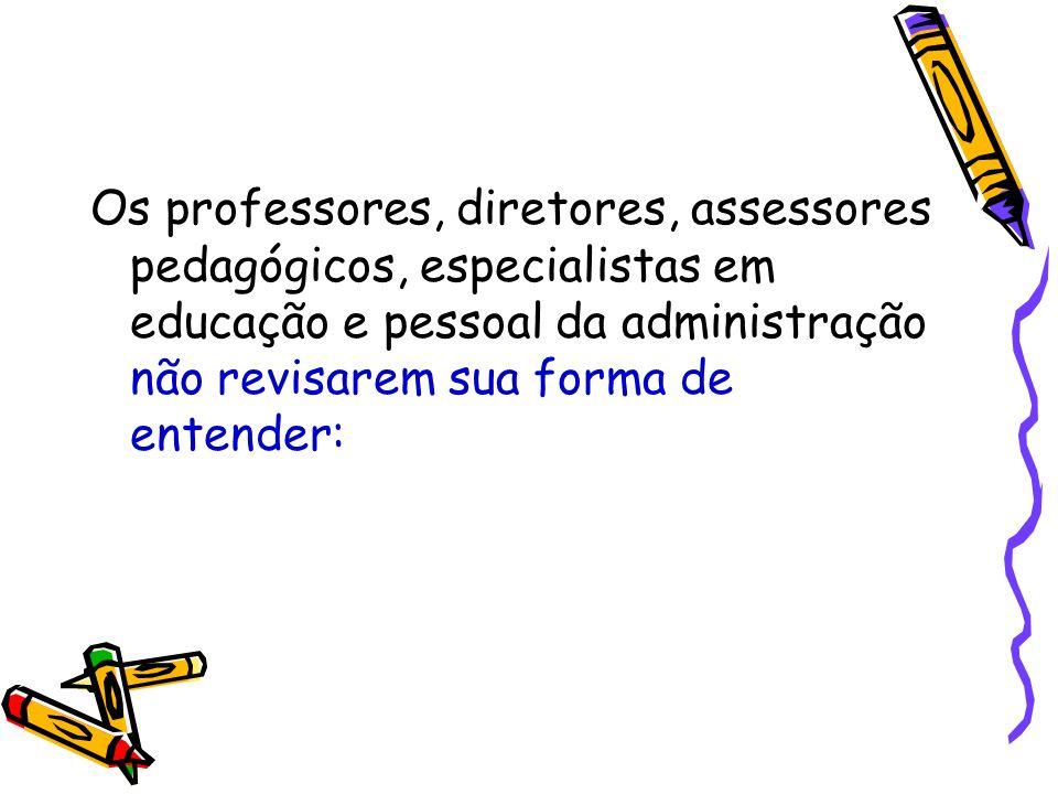 Como se ensina e como aprendem as crianças e jovens de hoje em dia; As concepções sobre currículo; O papel da avaliação;Os espaços educativos e a gestão escolar.
