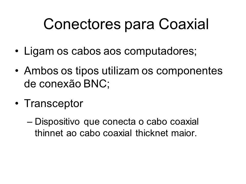 Conectores para Coaxial Ligam os cabos aos computadores; Ambos os tipos utilizam os componentes de conexão BNC; Transceptor –Dispositivo que conecta o