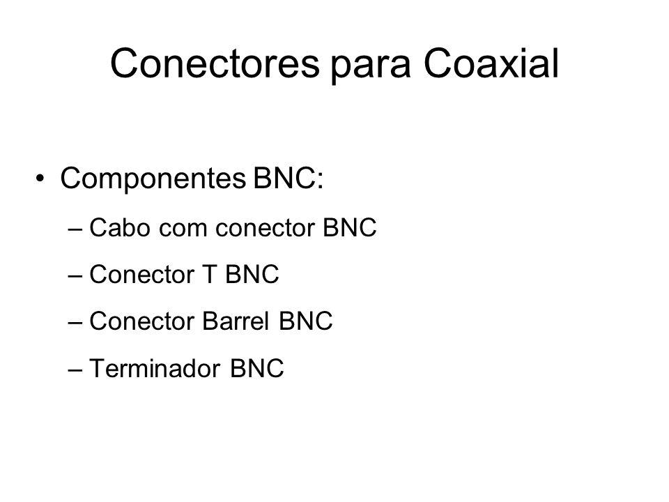 Conectores para Coaxial Componentes BNC: –Cabo com conector BNC –Conector T BNC –Conector Barrel BNC –Terminador BNC