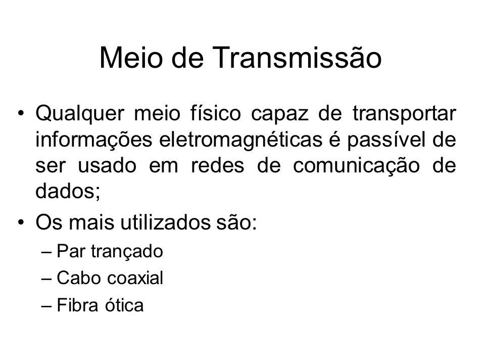 Meio de Transmissão Qualquer meio físico capaz de transportar informações eletromagnéticas é passível de ser usado em redes de comunicação de dados; O