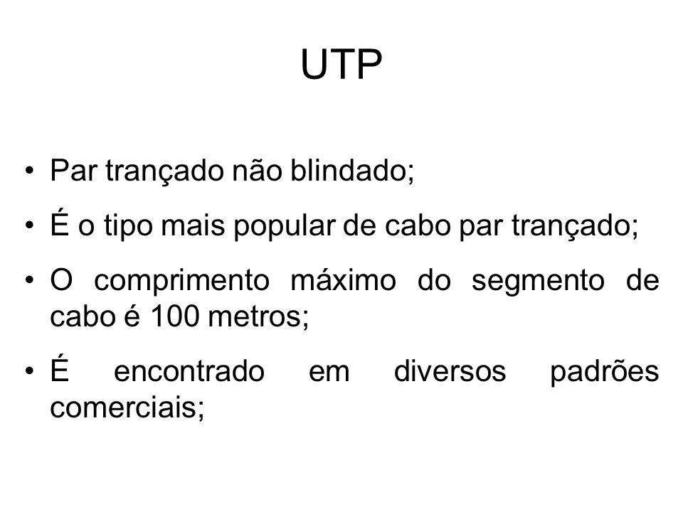 UTP Par trançado não blindado; É o tipo mais popular de cabo par trançado; O comprimento máximo do segmento de cabo é 100 metros; É encontrado em dive