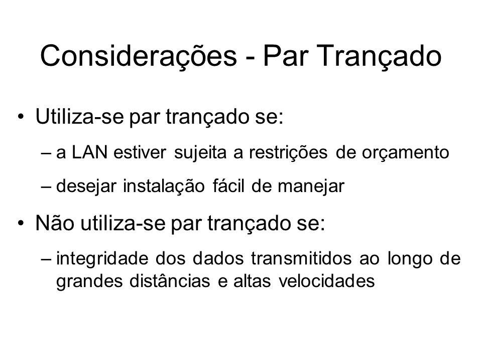 Considerações - Par Trançado Utiliza-se par trançado se: –a LAN estiver sujeita a restrições de orçamento –desejar instalação fácil de manejar Não uti