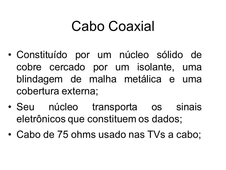 Cabo Coaxial Suporta velocidades da ordem de Megabits por segundo, sem necessidade de regeneração do sinal e sem distorções ou ecos; É uma boa opção para distâncias maiores e para suportar com segurança taxas de dados mais altas com equipamentos mais simples;