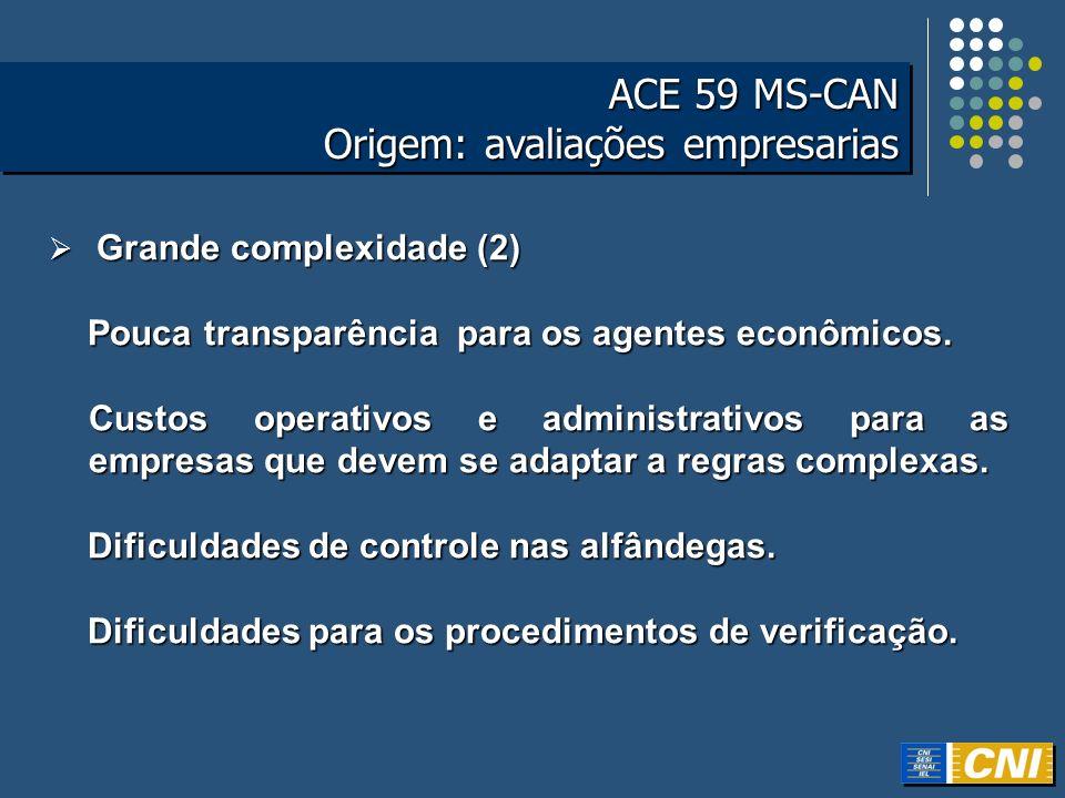 ACE 59 MS-CAN Origem: avaliações empresarias ACE 59 MS-CAN Origem: avaliações empresarias Grande complexidade (2) Grande complexidade (2) Pouca transp