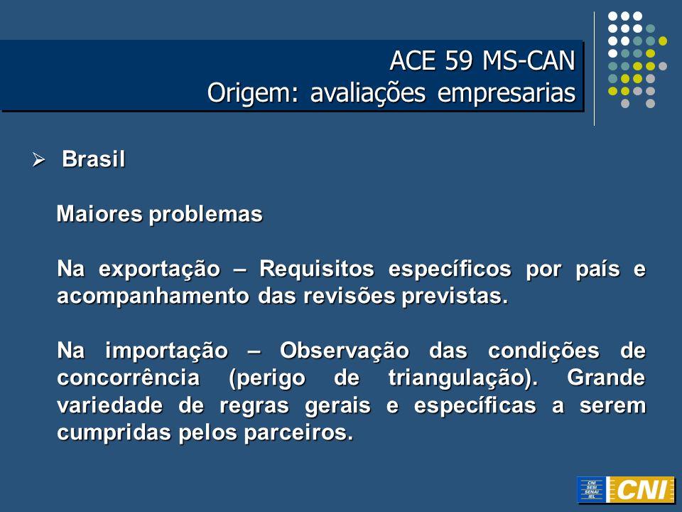 ACE 59 MS-CAN Origem: avaliações empresarias ACE 59 MS-CAN Origem: avaliações empresarias Brasil Brasil Maiores problemas Maiores problemas Na exporta