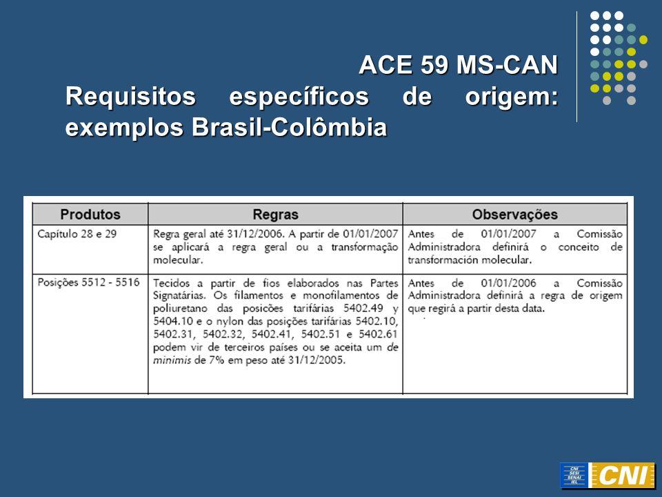 ACE 59 MS-CAN Requisitos específicos de origem: exemplos Brasil-Colômbia