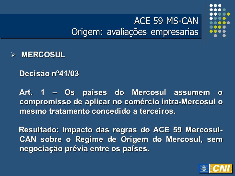 ACE 59 MS-CAN Origem: avaliações empresarias ACE 59 MS-CAN Origem: avaliações empresarias MERCOSUL MERCOSUL Decisão nº41/03 Decisão nº41/03 Art. 1 – O