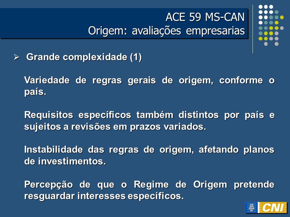 ACE 59 MS-CAN Origem: avaliações empresarias ACE 59 MS-CAN Origem: avaliações empresarias Grande complexidade (2) Grande complexidade (2) Pouca transparência para os agentes econômicos.