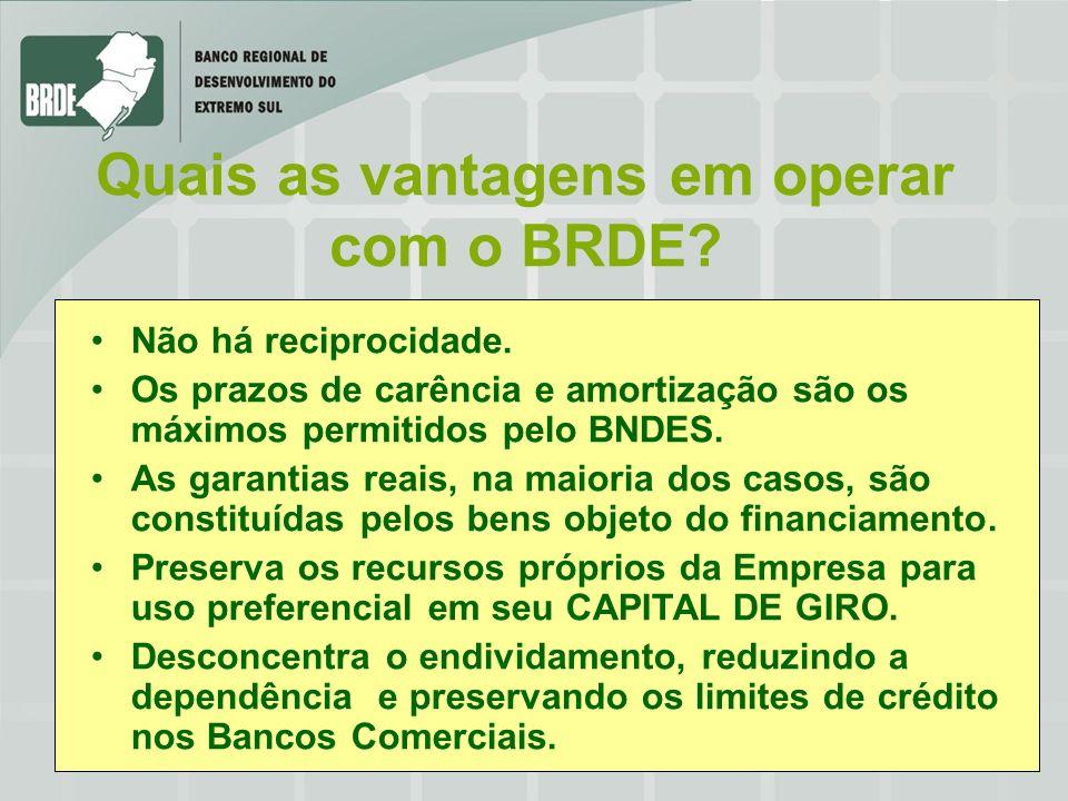 Não há reciprocidade. Os prazos de carência e amortização são os máximos permitidos pelo BNDES. As garantias reais, na maioria dos casos, são constitu