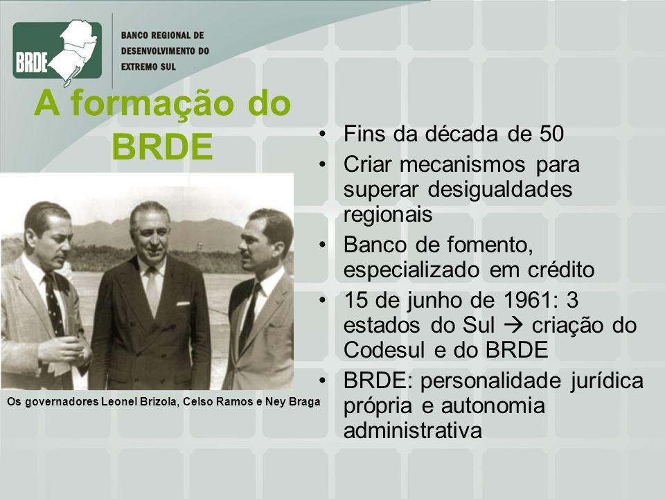 A formação do BRDE Fins da década de 50 Criar mecanismos para superar desigualdades regionais Banco de fomento, especializado em crédito 15 de junho d