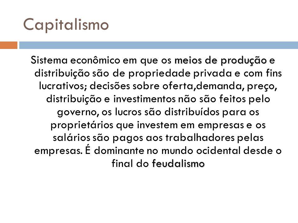 Capitalismo meios de produção feudalismo Sistema econômico em que os meios de produção e distribuição são de propriedade privada e com fins lucrativos