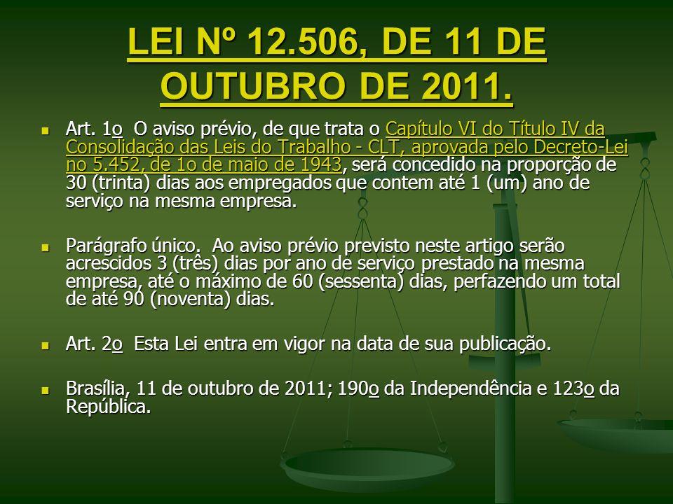 LEI Nº 12.506, DE 11 DE OUTUBRO DE 2011. LEI Nº 12.506, DE 11 DE OUTUBRO DE 2011. Art. 1o O aviso prévio, de que trata o Capítulo VI do Título IV da C