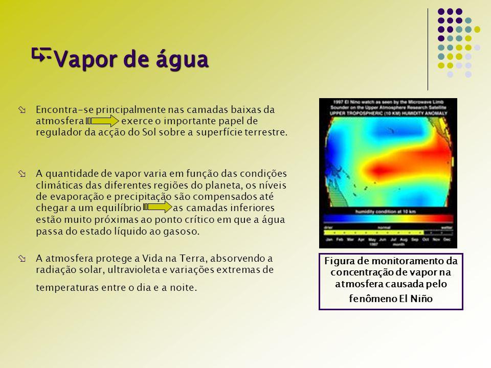 Vapor de água Vapor de água Encontra-se principalmente nas camadas baixas da atmosfera exerce o importante papel de regulador da acção do Sol sobre a