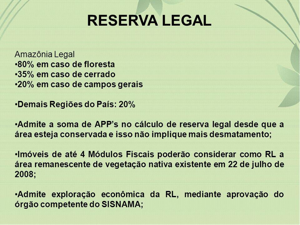 REGISTRO DA RESERVA LEGAL Acaba com a exigência da averbação em cartório; A reserva deverá ser registrada no Cadastro Ambiental Rural criado pelo projeto para todos os imóveis rurais;