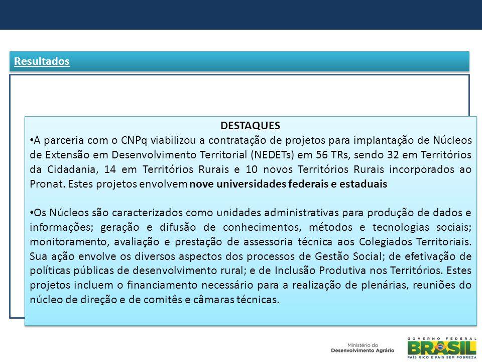 DESTAQUES A parceria com o CNPq viabilizou a contratação de projetos para implantação de Núcleos de Extensão em Desenvolvimento Territorial (NEDETs) e