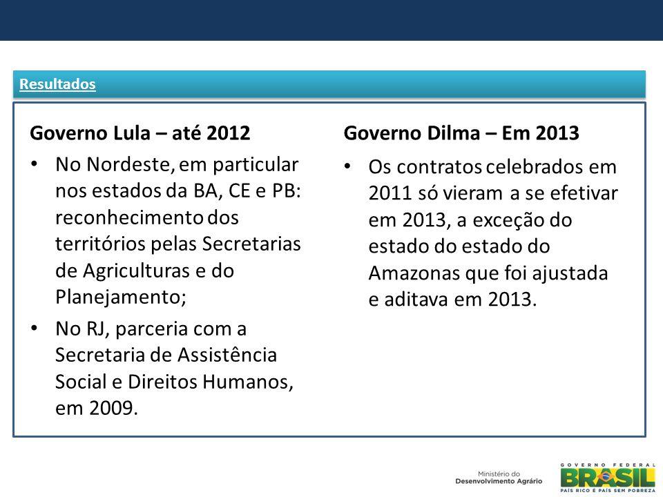 Governo Lula – até 2012 No Nordeste, em particular nos estados da BA, CE e PB: reconhecimento dos territórios pelas Secretarias de Agriculturas e do P