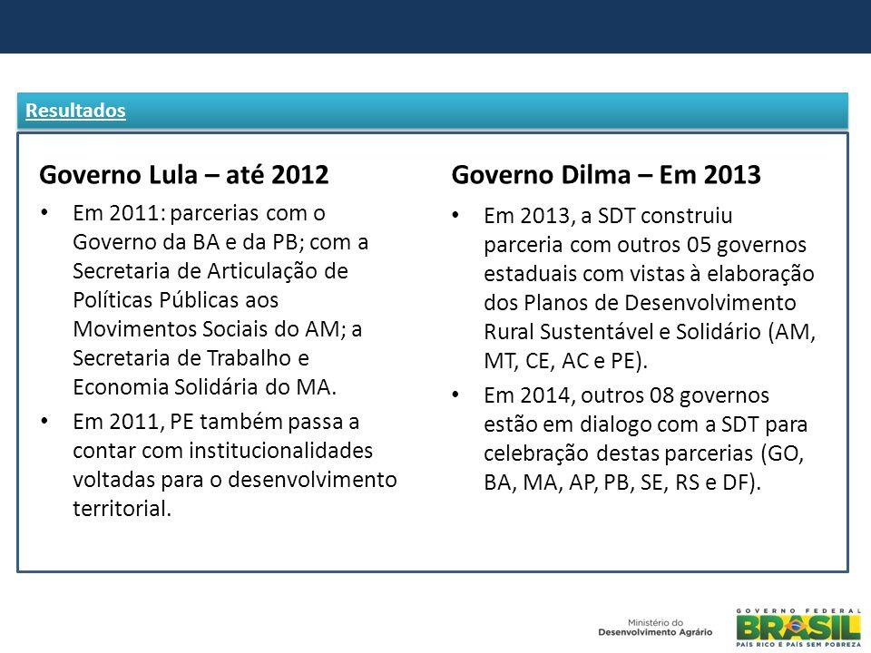 Governo Lula – até 2012 Em 2011: parcerias com o Governo da BA e da PB; com a Secretaria de Articulação de Políticas Públicas aos Movimentos Sociais d