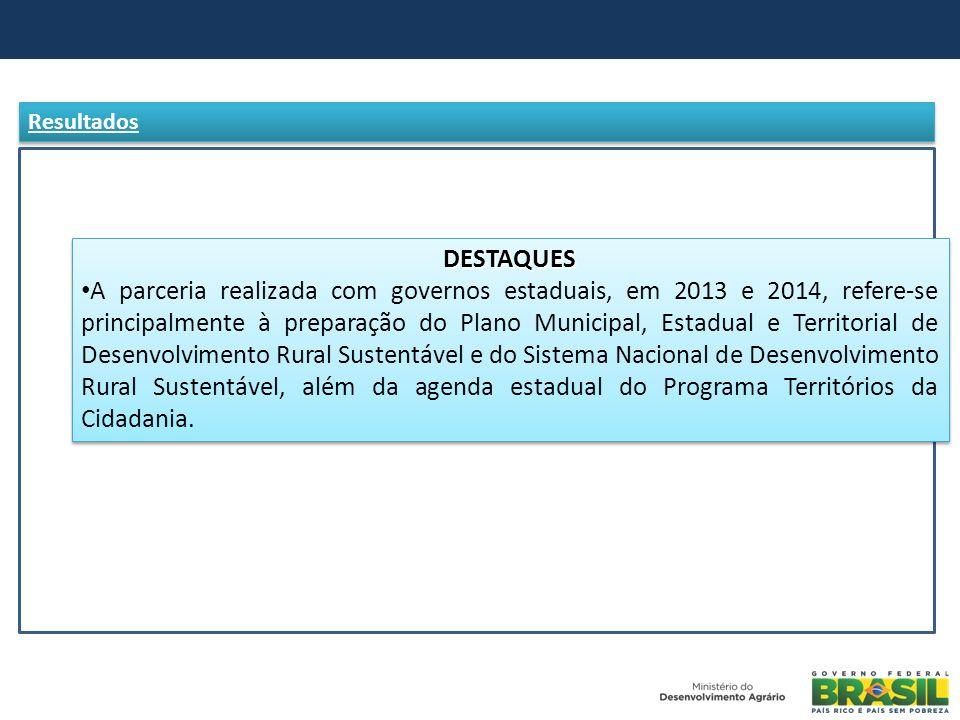 DESTAQUES A parceria realizada com governos estaduais, em 2013 e 2014, refere-se principalmente à preparação do Plano Municipal, Estadual e Territoria