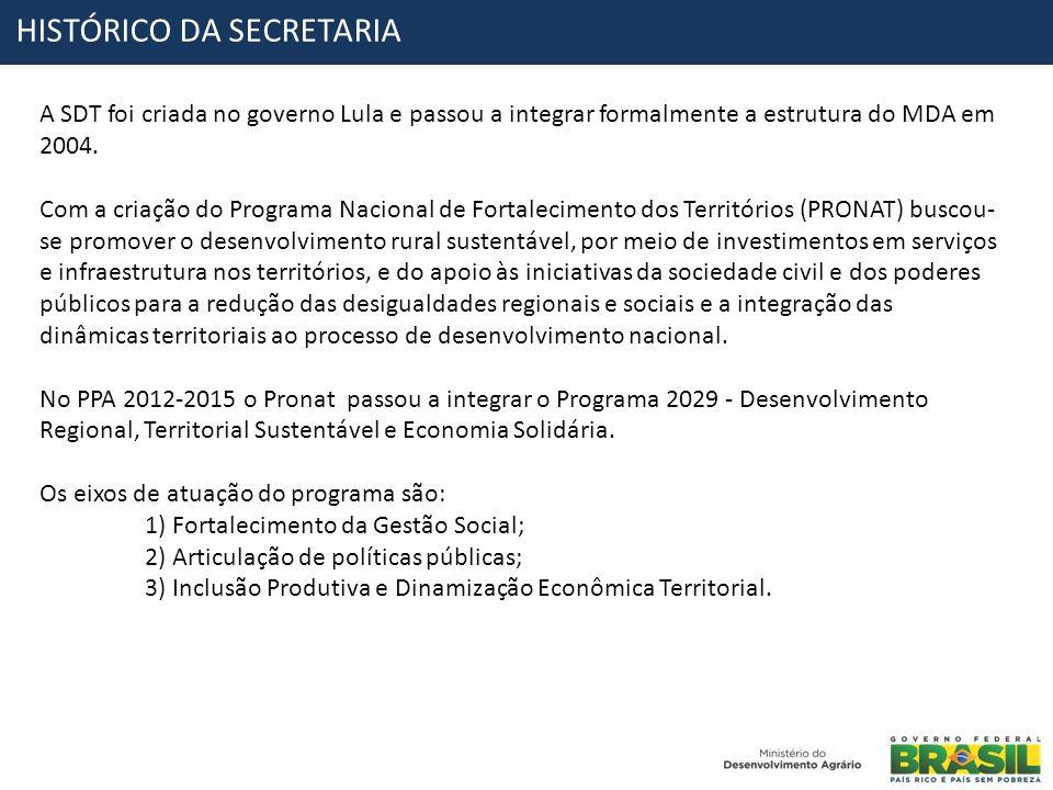 HISTÓRICO DA SECRETARIA A SDT foi criada no governo Lula e passou a integrar formalmente a estrutura do MDA em 2004. Com a criação do Programa Naciona