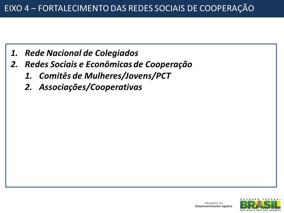 EIXO 4 – FORTALECIMENTO DAS REDES SOCIAIS DE COOPERAÇÃO 1.Rede Nacional de Colegiados 2.Redes Sociais e Econômicas de Cooperação 1.Comitês de Mulheres