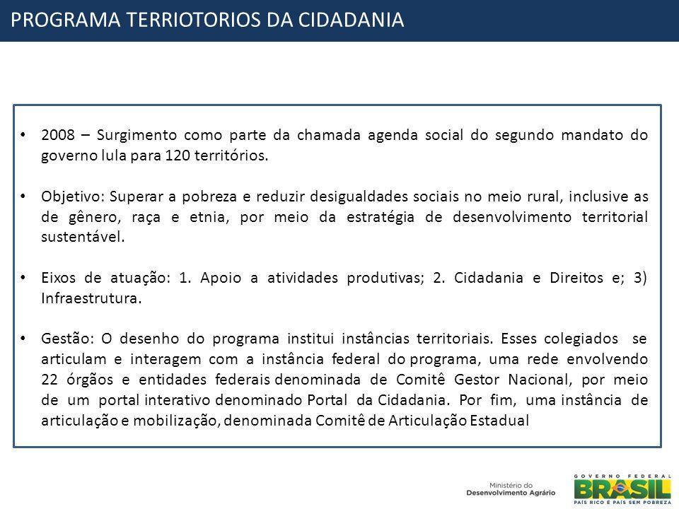 PROGRAMA TERRIOTORIOS DA CIDADANIA 2008 – Surgimento como parte da chamada agenda social do segundo mandato do governo lula para 120 territórios. Obje