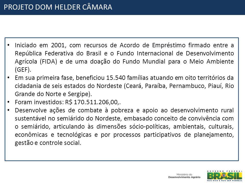 PROJETO DOM HELDER CÂMARA Iniciado em 2001, com recursos de Acordo de Empréstimo firmado entre a República Federativa do Brasil e o Fundo Internaciona