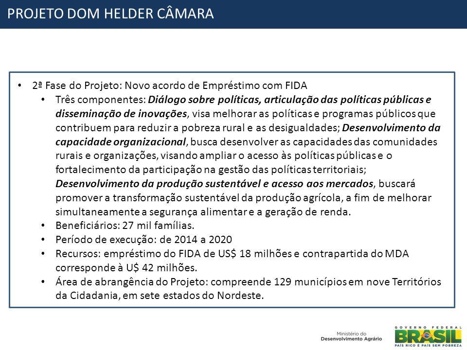 PROJETO DOM HELDER CÂMARA 2ª Fase do Projeto: Novo acordo de Empréstimo com FIDA Três componentes: Diálogo sobre políticas, articulação das políticas