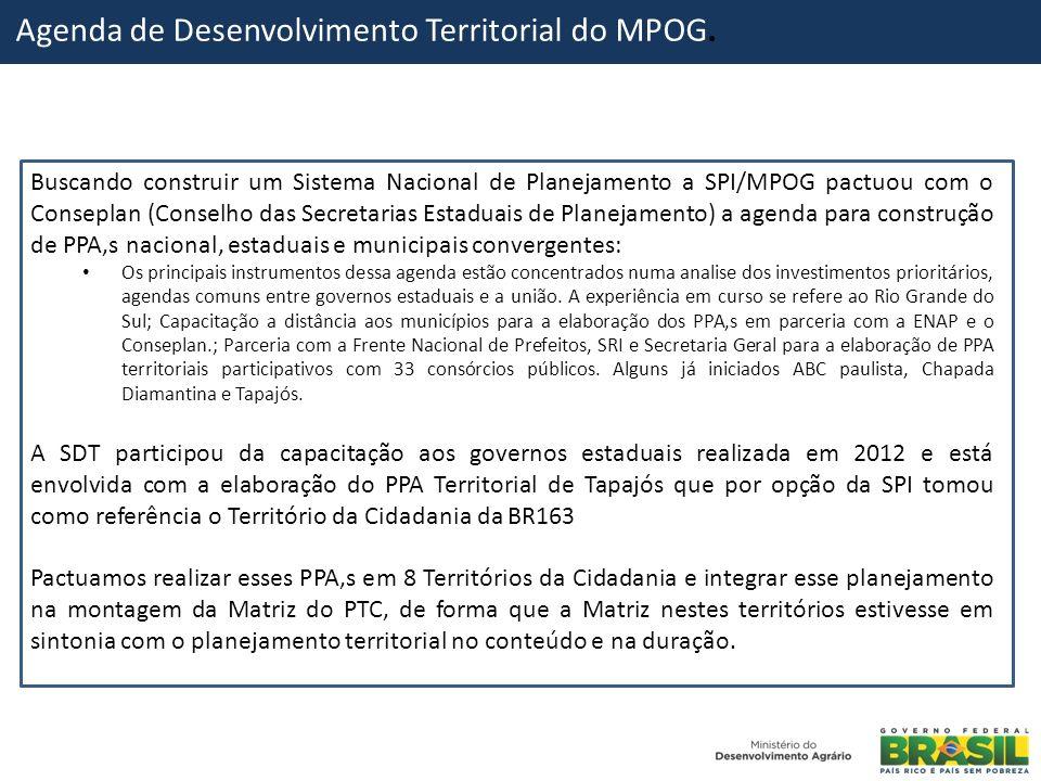 Agenda de Desenvolvimento Territorial do MPOG. Buscando construir um Sistema Nacional de Planejamento a SPI/MPOG pactuou com o Conseplan (Conselho das