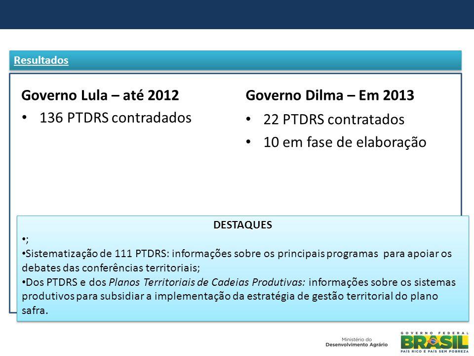 Governo Lula – até 2012 136 PTDRS contradados Governo Dilma – Em 2013 22 PTDRS contratados 10 em fase de elaboração DESTAQUES ; Sistematização de 111
