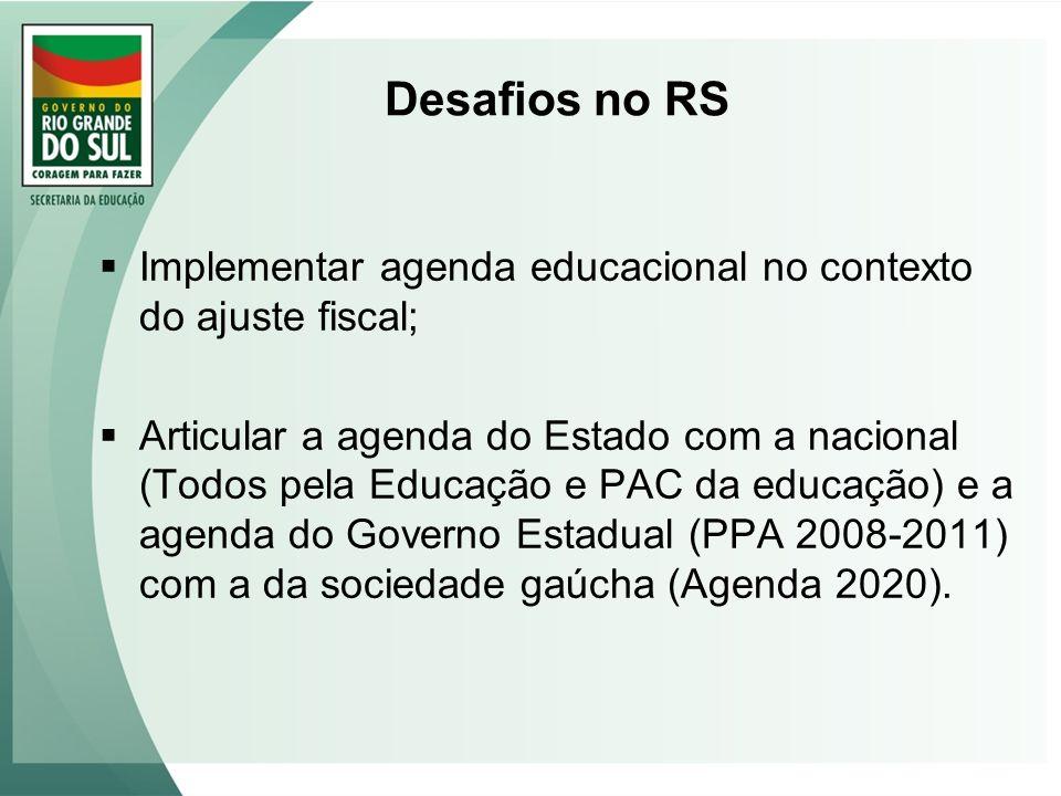 Desafios no RS Implementar agenda educacional no contexto do ajuste fiscal; Articular a agenda do Estado com a nacional (Todos pela Educação e PAC da