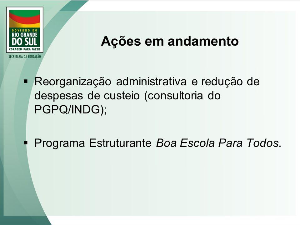 Ações em andamento Reorganização administrativa e redução de despesas de custeio (consultoria do PGPQ/INDG); Programa Estruturante Boa Escola Para Tod