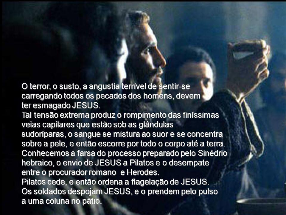 O terror, o susto, a angustia terrível de sentir-se carregando todos os pecados dos homens, devem ter esmagado JESUS.