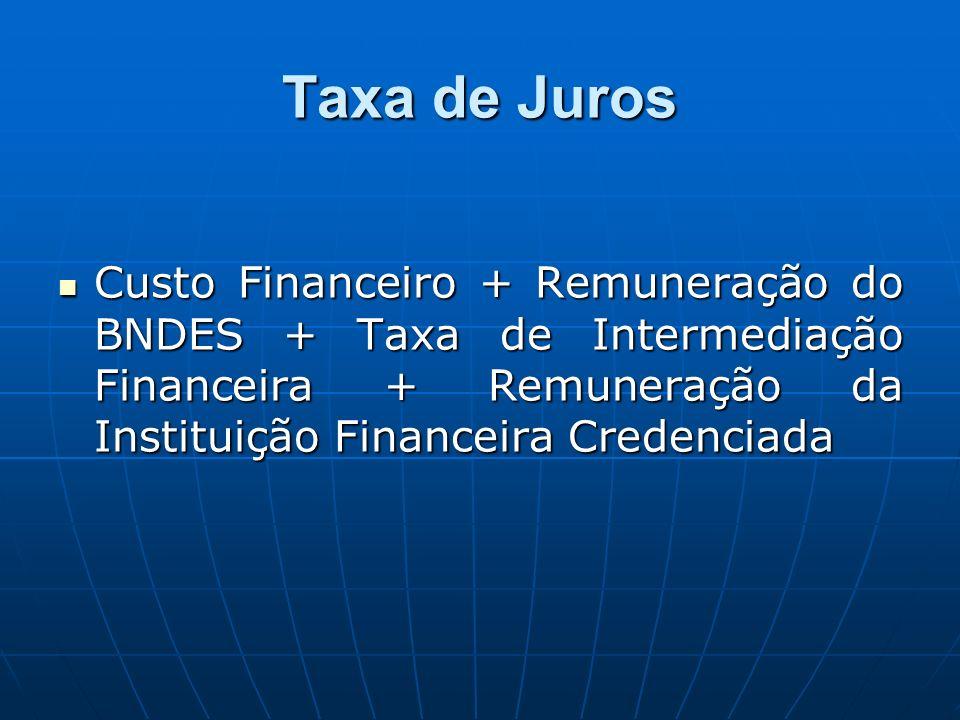 Taxa de Juros Custo Financeiro + Remuneração do BNDES + Taxa de Intermediação Financeira + Remuneração da Instituição Financeira Credenciada Custo Financeiro + Remuneração do BNDES + Taxa de Intermediação Financeira + Remuneração da Instituição Financeira Credenciada