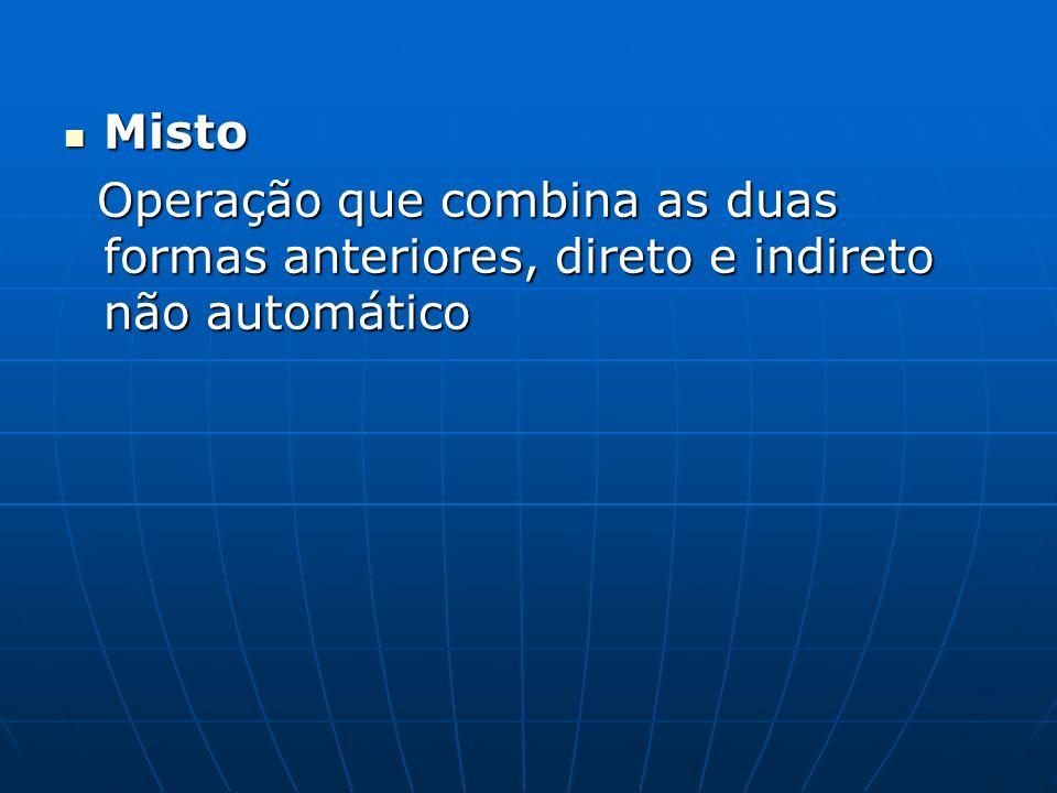 Misto Misto Operação que combina as duas formas anteriores, direto e indireto não automático Operação que combina as duas formas anteriores, direto e indireto não automático