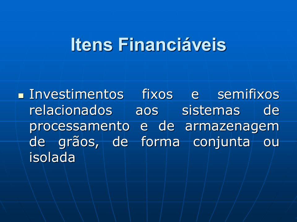 Itens Financiáveis Investimentos fixos e semifixos relacionados aos sistemas de processamento e de armazenagem de grãos, de forma conjunta ou isolada Investimentos fixos e semifixos relacionados aos sistemas de processamento e de armazenagem de grãos, de forma conjunta ou isolada