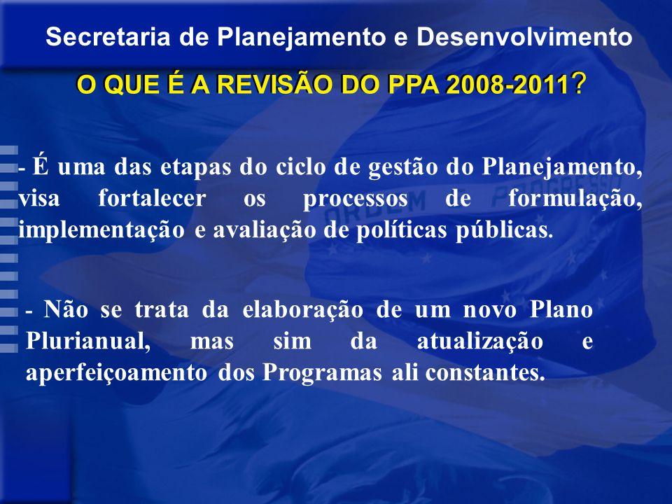 Secretaria de Planejamento e Desenvolvimento Pauta da reunião : - APRESENTAÇÃO DA METODOLOGIA DE REVISÃO DO PPA; - DISCUSSÃO DOS PROCEDIMENTOS DOS ÓRG