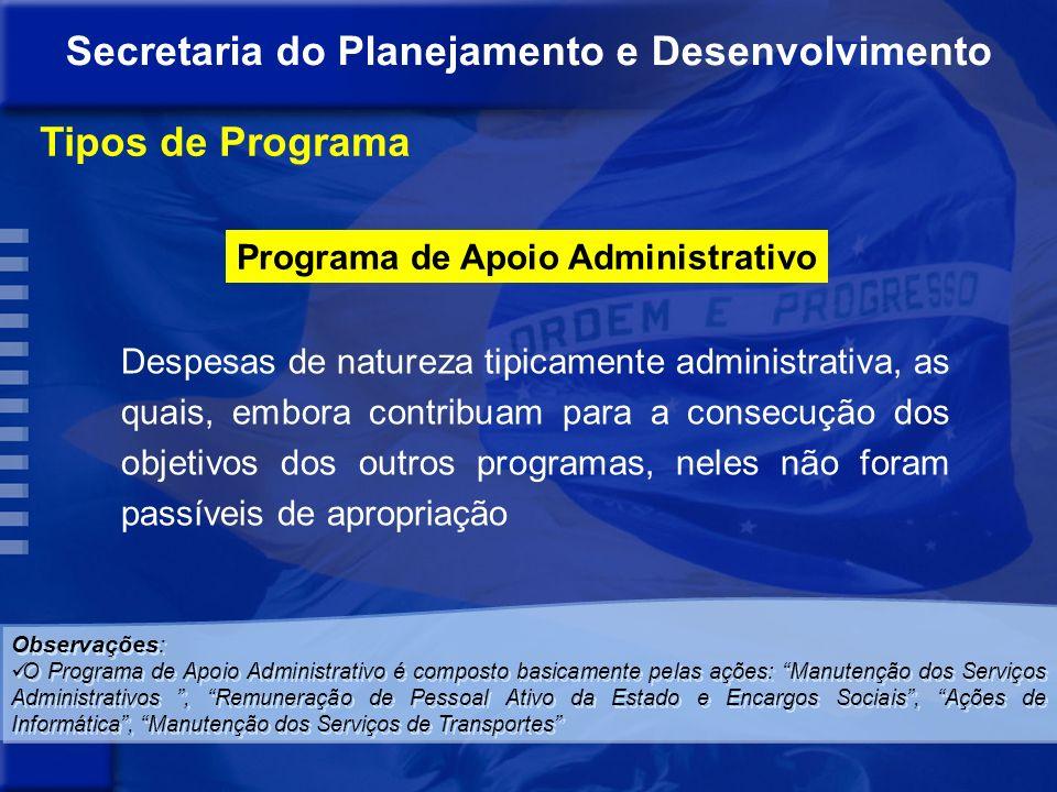 Programa de Gestão de Políticas Públicas Destinado ao planejamento e à formulação de políticas setoriais, à coordenação, avaliação e controle dos dema
