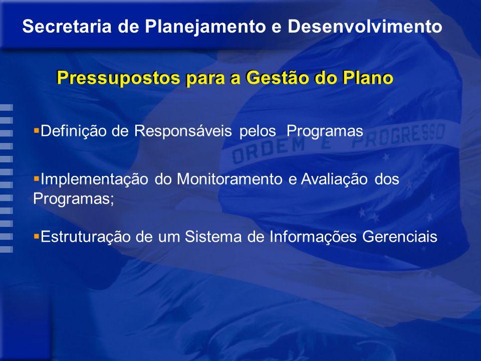 Secretaria de Planejamento e Desenvolvimento Pressupostos para a Gestão do Plano Definição de Responsáveis pelos Programas Implementação do Monitoramento e Avaliação dos Programas; Estruturação de um Sistema de Informações Gerenciais