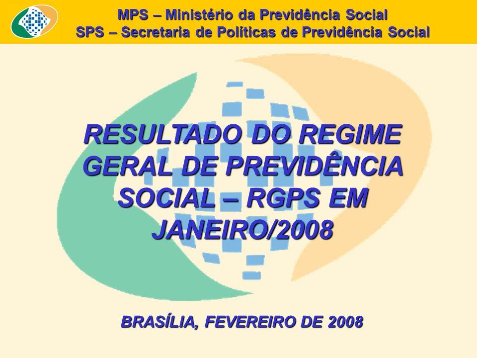 MPS – Ministério da Previdência Social SPS – Secretaria de Políticas de Previdência Social RESULTADO DO REGIME GERAL DE PREVIDÊNCIA SOCIAL – RGPS EM JANEIRO/2008 BRASÍLIA, FEVEREIRO DE 2008