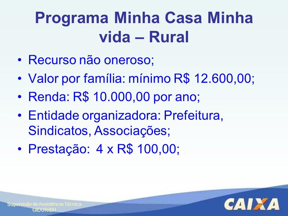 Supervisão de Assistência Técnica GIDUR/BH Programa Minha Casa Minha vida – Rural Recurso não oneroso; Valor por família: mínimo R$ 12.600,00; Renda: